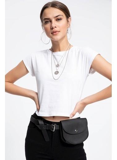 DeFacto Basic Kısa T-shirt Beyaz